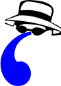 Cartoon apostrophe in sunglasses and spy hat